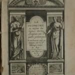 113. BOULENGER (J). LA GEOMETRIE OU MESURE DES LIGNES DROITTES ESLOIGNEES, par le quarré géométriques. Paris, Jean Moreau, 1628. In-4° de [8]-174-[8] pages, cartonnage ancien. Seconde édition, la première en 1623, ornée d'un beau titre allégorique et de 71 fines gravures sur cuivre réparties dans tout le texte. Cernes d'angle, exemplaire modeste. 200/300