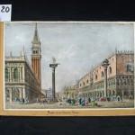 20. ALBUM SUR L'ITALIE. (Vers 1830-35). In folio oblong (43 x 28 cm), maroquin vert empire, dentelle dorée et encadrement sur les plats avec le monogramme P.T., dos lisse très orné (reliure de l'époque). Très bel album-souvenir composé de gravures lors d'un voyage en Italie de Milan à Naples. Milan : 1 gravure (19 x 13) et 9 petites (9 x 6) – Venise : 5 gravures coloriées et gommées (19 x 13), 8 aquatintes (11,5 x 7,5), 15 gravures (10 x 6 et divers), 1 grande gravure coloriée (37 x 24,5) et un plan replié – Florence : 4 gravures finement aquarellées (21,5 x 15,5 et 12,5 x 18) – Rome et ses environs : 12 gravures (24 x 16 et 17 x 12), 18 gravures (12 x 7,5) – Pise : 2 gravures aquarellées (20 x 15) – NaplesPompei : 8 gravures coloriées (10 x 16,5), 22 gravures aquarellées de costumes (14,5 x 10 et 32,5 x 21). 17 gravures diverses (Tableaux et scènes religieuses). Quelques fines restaurations à la reliure. Bel exemplaire très finement relié en maroquin. 1500/2000