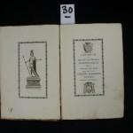 30. BODONI – GESTORUM AB EPISCOPIS SALITIENSIBUS ANAKEFALAIOSIS… Josephus Lovera patricius Savilianensis. Parma, Ex regio typographeo, 1783. In-8 de [2]-16-[4]-138 pages, demi basane (reliure de l'époque). Cet armorial des évêques de Saluces en Pièmont est rare. Il n'a été tiré que 300 exemplaires et l'impression est magnifique. Tout le texte est encadré, beau frontispice de Cagioni, titre illustré et 22 blasons gravés. Exemplaire non rogné avec ses grandes marges d'origine. Manque au dos de la reliure. Ex libris M. Varille. (Brooks, 228). 200/300