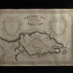 6. CARTE « LA PRESQU'ILE DE LA PERFECTION ». Carte géographique de 61,5 x 88,5 cm, dessinée sur papier fort au XIX° siècle à l'encre avec rehauts d'aquarelle. Belle carte originale dessinée à la manière d'une carte du tendre. Cette « Presqu'ile » est formée de territoires : Sérénité, Liberté d'esprit, Cordialité, ou cap de la Reconnaissance, fleuve des Consolations, etc… et entourée au nord par l'océan de l'Amour divin avec au sud la mer du Mépris. A l'est, l'ile de l'Amitié et à l'ouest, le continent du monde avec ses défauts : Lâcheté, Monts de l'orgueil, fleuve des Caprices… Beau travail de calligraphie. 200/300
